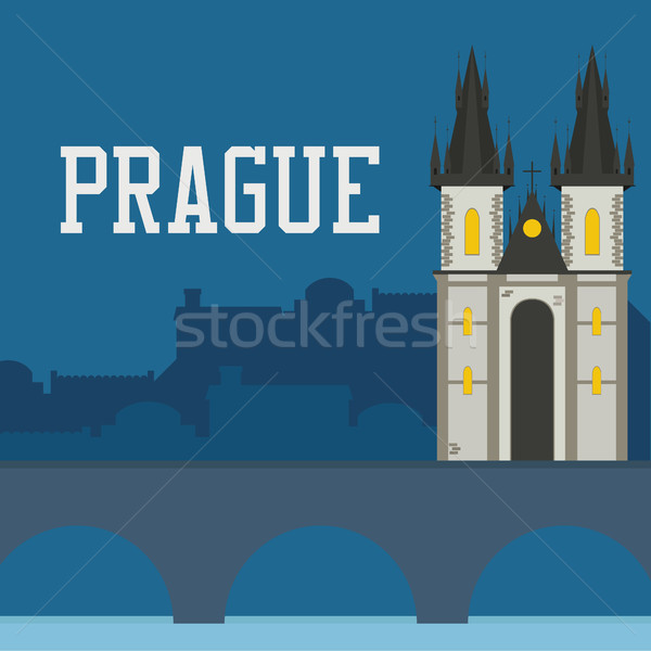 Prague old castle church with night cityscape Stock photo © user_11397493