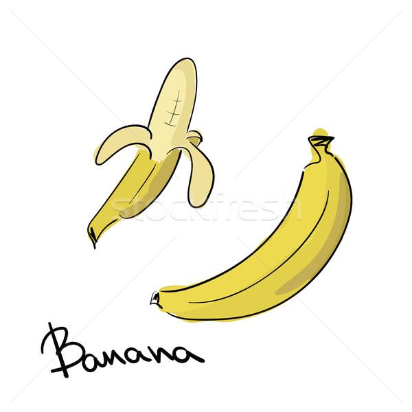 Kézzel rajzolt banán izolált kéz terv gyümölcs Stock fotó © user_11397493