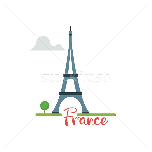 Eiffel torony szöveg utazás vakáció izolált Stock fotó © user_11397493