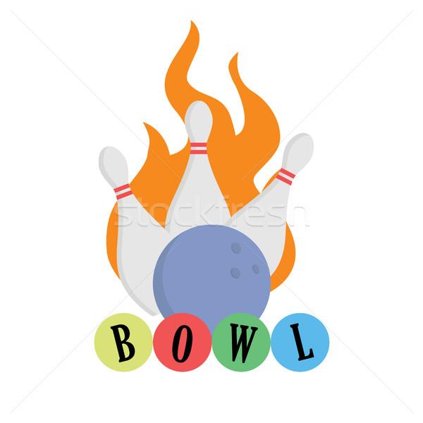 Palla da bowling fuoco sciopero isolato palla bianco Foto d'archivio © user_11397493