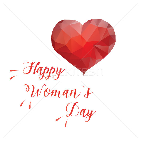 Happy women s day card with low poly heart and lettering Stock photo © user_11397493
