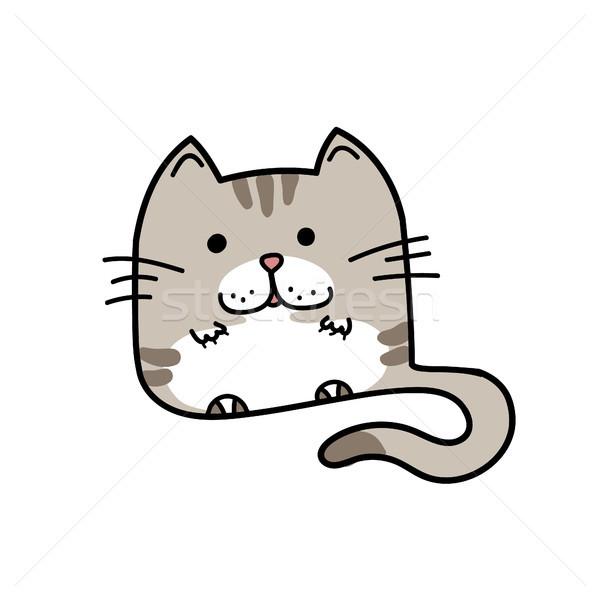 飼い猫 手描き 面白い 孤立した いたずら書き キティ ストックフォト © user_11397493