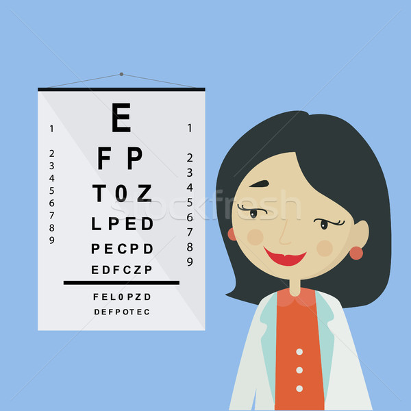 Eye doctor. Ophthalmologist woman character in uniform Stock photo © user_11397493