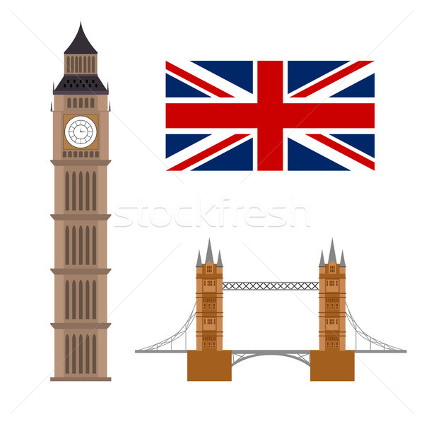 Big ben with flag and bridge famous. London concept Stock photo © user_11397493