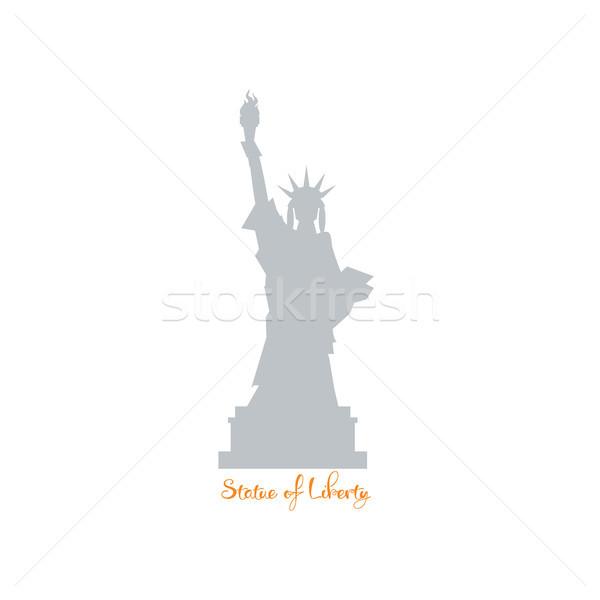 Statua libertà silhouette costruzione bandiera nero Foto d'archivio © user_11397493