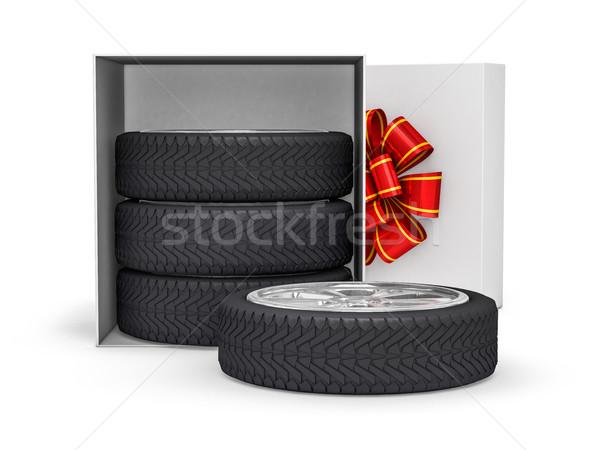 Geschenkdoos wielen 3D winkelen kleur Stockfoto © user_11870380