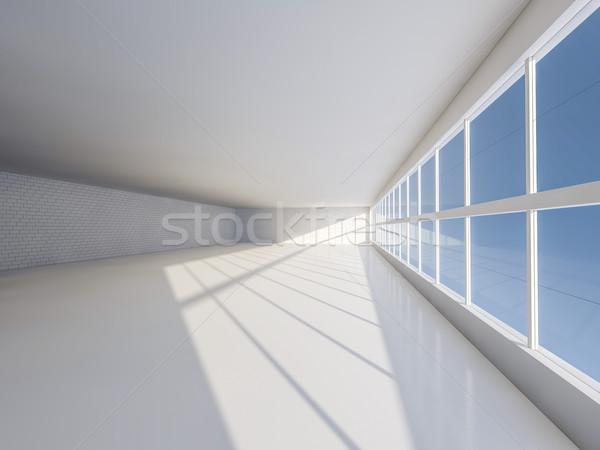 Zonnige groot Open Windows 3D Stockfoto © user_11870380