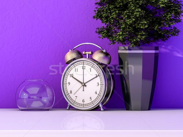 çalar saat tablo bitki 3D soyut Stok fotoğraf © user_11870380