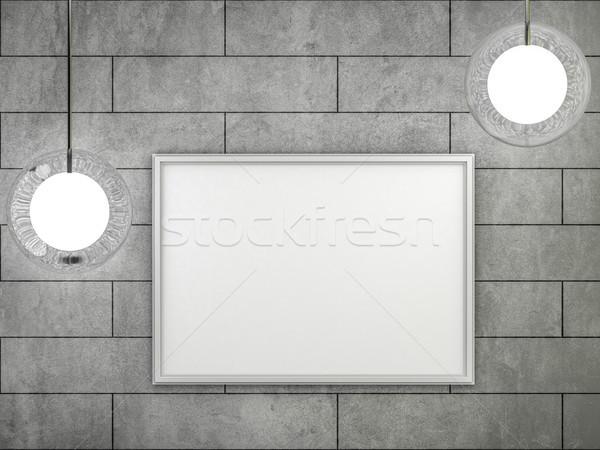 Witte poster frame muur 3D Stockfoto © user_11870380