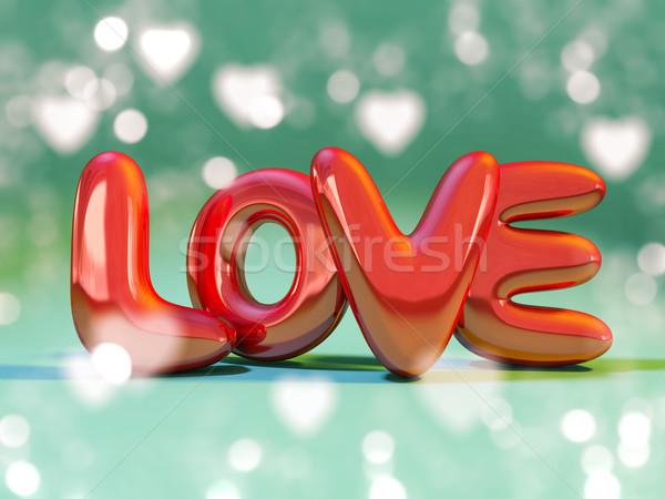 Kırmızı şişme kelime sevmek 3D yansıma Stok fotoğraf © user_11870380
