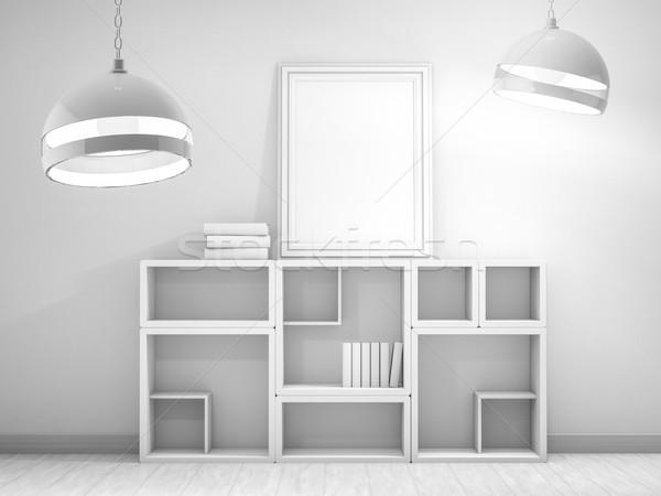Photo stock: Affiche · cadre · up · modèle · 3D