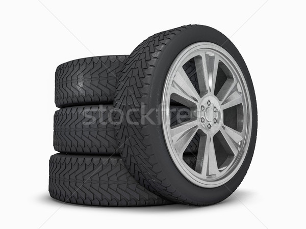 Winter set tires with hard protector. 3D Stock photo © user_11870380