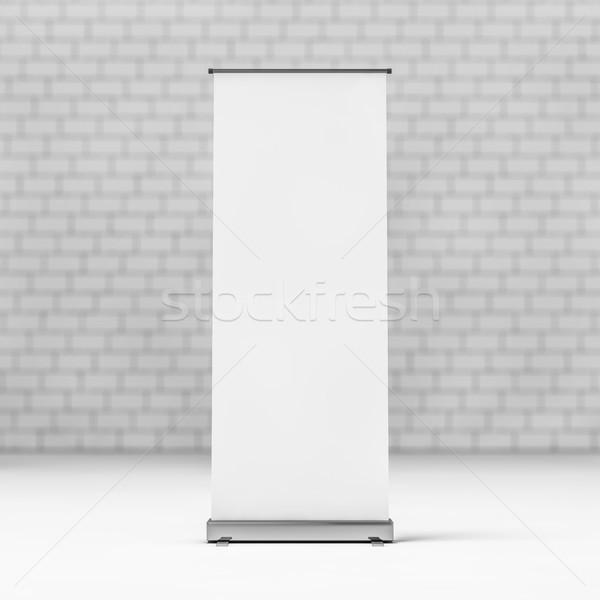 катиться вверх баннер 3D белый Сток-фото © user_11870380
