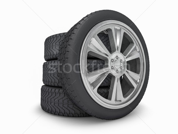 Winter set tires with hard protector. 3D rendering Stock photo © user_11870380