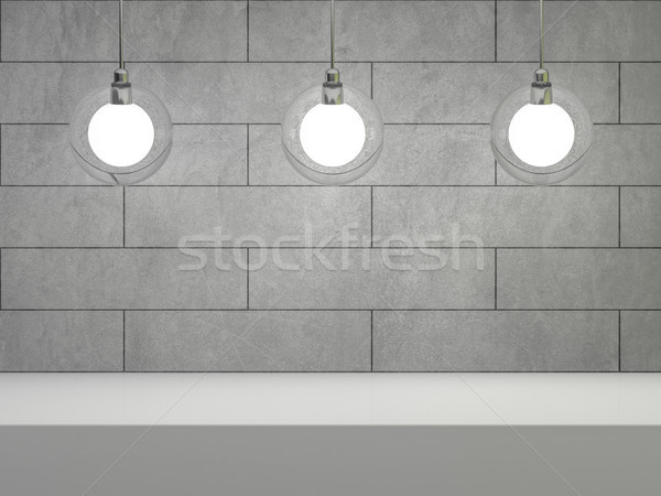 Glass lamp in room with concrete wall and place for text. 3D Stock photo © user_11870380