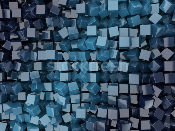 Abstract vierkante Blauw 3d render ruimte kleur Stockfoto © user_11870380
