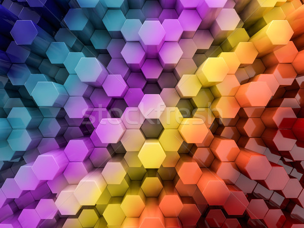 Hexagone résumé Rainbow 3D mur Photo stock © user_11870380