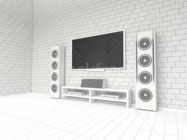 Stock fotó: Modern · fehér · otthon · színház · 3D · renderelt · kép