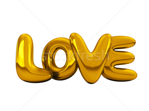 Gold inflatable word love. 3D. Stock photo © user_11870380
