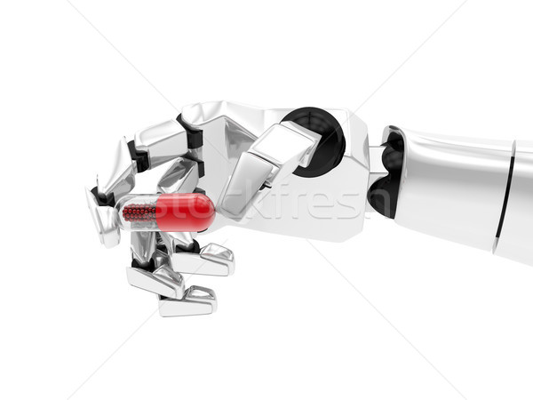 Concept of a robotic mechanical arm with drug. 3D rendering Stock photo © user_11870380