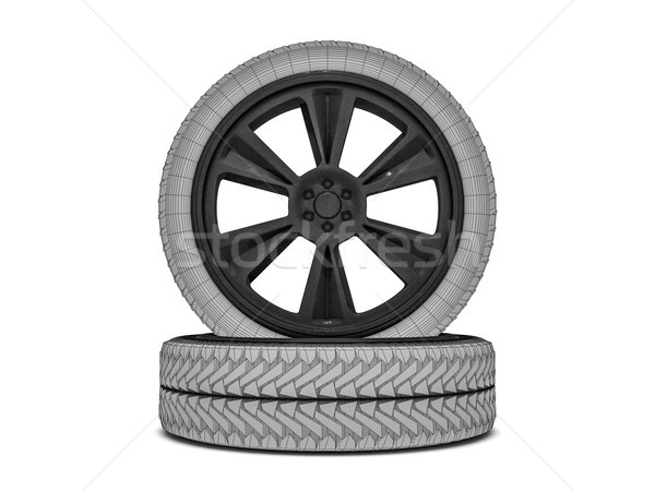 Wheels with blackened rim. Sketch. 3D rendering Stock photo © user_11870380