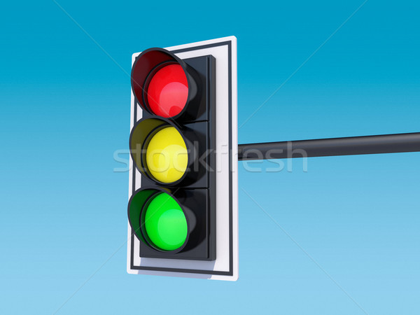 Isolated traffic light. 3D Stock photo © user_11870380