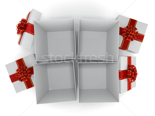 Gift box with ribbon bow, isolated on white. 3D rendering Stock photo © user_11870380