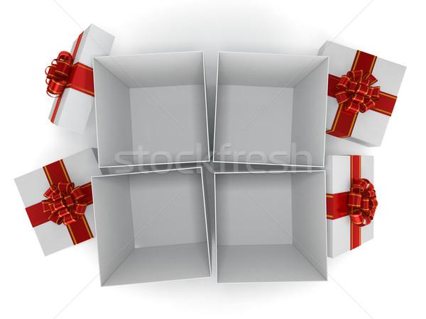 ギフトボックス リボン 弓 孤立した 白 3D ストックフォト © user_11870380