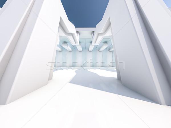 Lege witte interieur 3D ontwerp Stockfoto © user_11870380