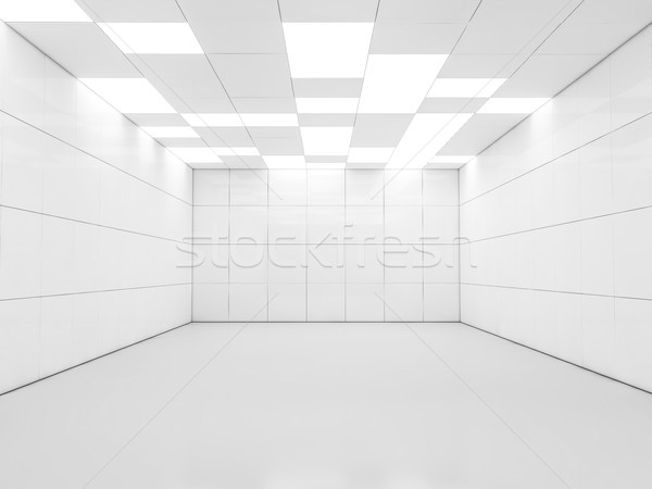 Simple empty room interior with lamps. 3D Stock photo © user_11870380