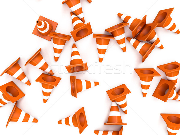 Orange road cones with stripes top view. 3D Stock photo © user_11870380