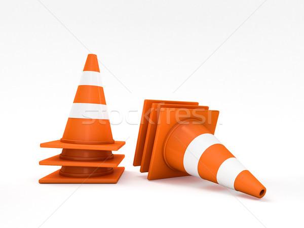 Oranje weg 3D bouw Stockfoto © user_11870380