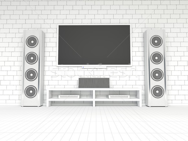 Stockfoto: Moderne · witte · home · theater · 3D