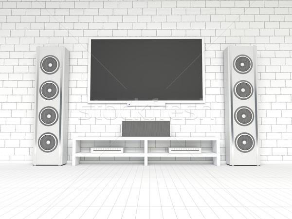 Moderne witte home theater 3D Stockfoto © user_11870380