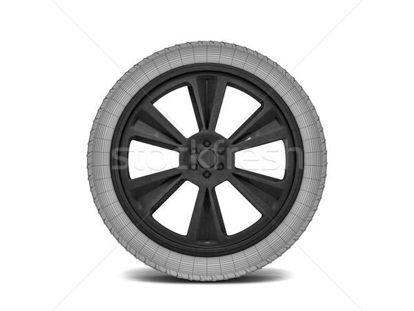 Wheels with blackened rim. Sketch. 3D rendering Stock photo © user_11870380