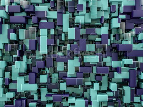 抽象的な キューブ ガラス 3D レンダリング 建設 ストックフォト © user_11870380