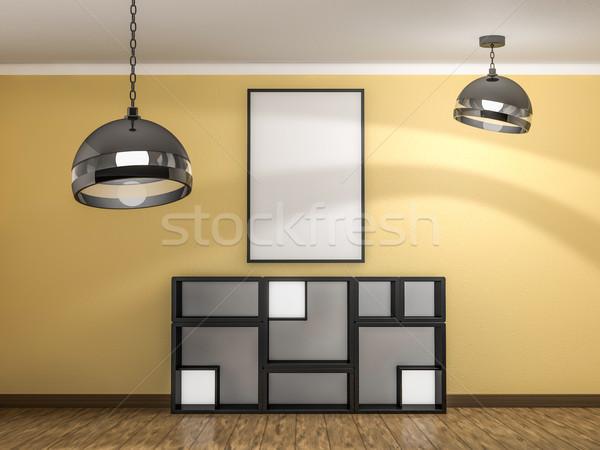 Сток-фото: большой · вертикальный · плакат · конкретные · стены · 3D