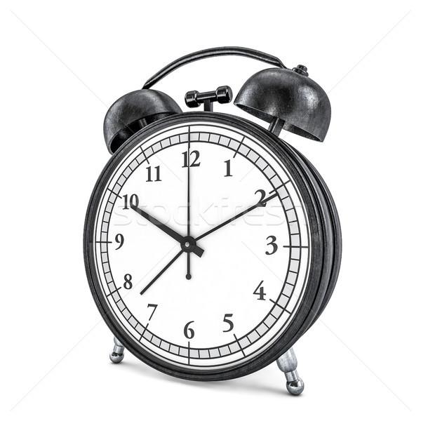 Black retro alarm clock on white background. 3D Stock photo © user_11870380