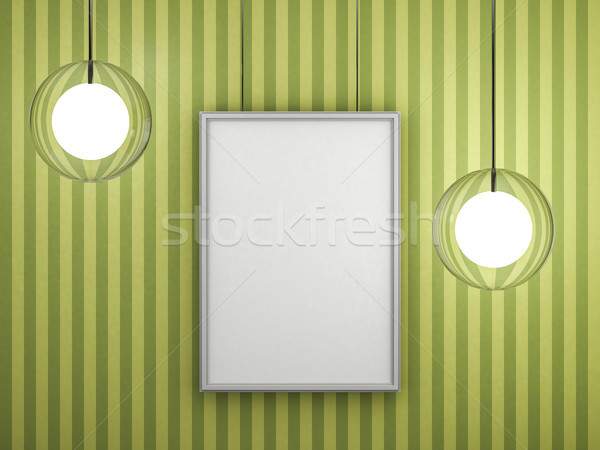 White blank poster with frame mock-up on wall. 3D Stock photo © user_11870380