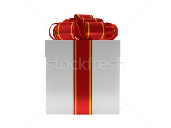 Stockfoto: Geschenkdoos · lint · boeg · geïsoleerd · witte · 3D
