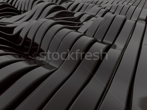 Stock photo: Abstract swirly black shapes background. 3D