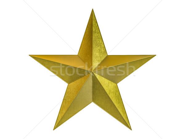 Gouden christmas star geïsoleerd witte 3D Stockfoto © user_11870380