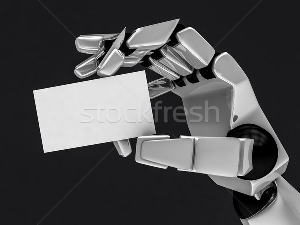 Stock photo: Concept of a robotic mechanical arm with business card. 3D rende