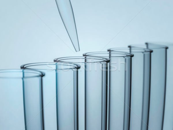 Laboratory pipette over glass test tubes. 3D rendering Stock photo © user_11870380