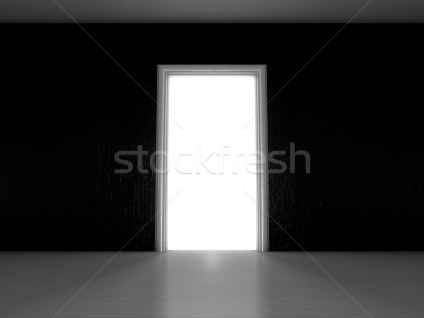 Open door in a room with the outgoing light. 3D Stock photo © user_11870380
