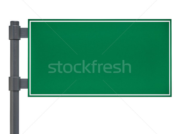 Blank green traffic road sign on white. 3D Stock photo © user_11870380