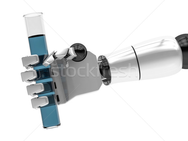 Concept of a robotic mechanical arm with test tube. 3D rendering Stock photo © user_11870380
