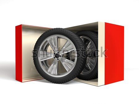 Gift box with tyres and wheels. 3D rendering Stock photo © user_11870380