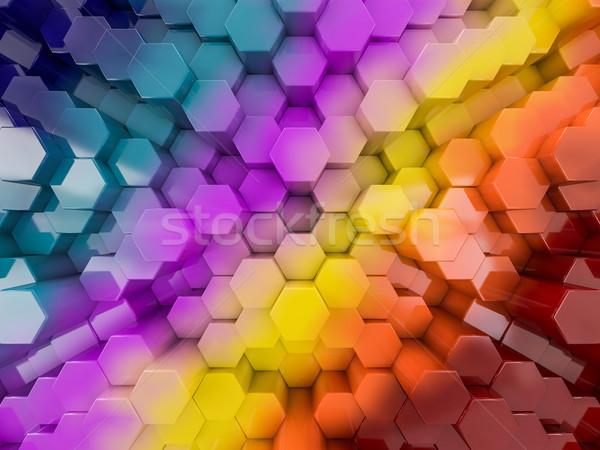 Hexagon abstract rainbow background. 3D Stock photo © user_11870380