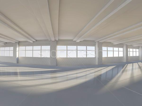 Zonnige groot Open Windows 3D ruim Stockfoto © user_11870380